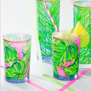 Lilly Pulitzer Acrylic Lo-Ball Glass Paint Palm